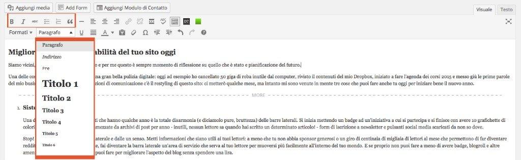 Formattazione in WordPress