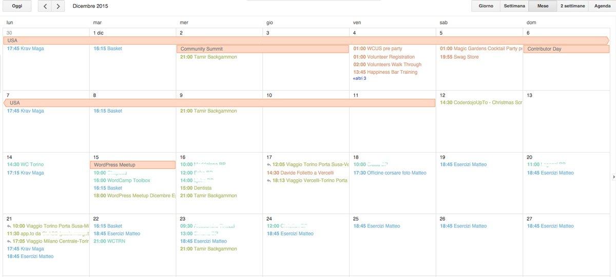 Google Calendar di Francesca Marano - dicembre 2015