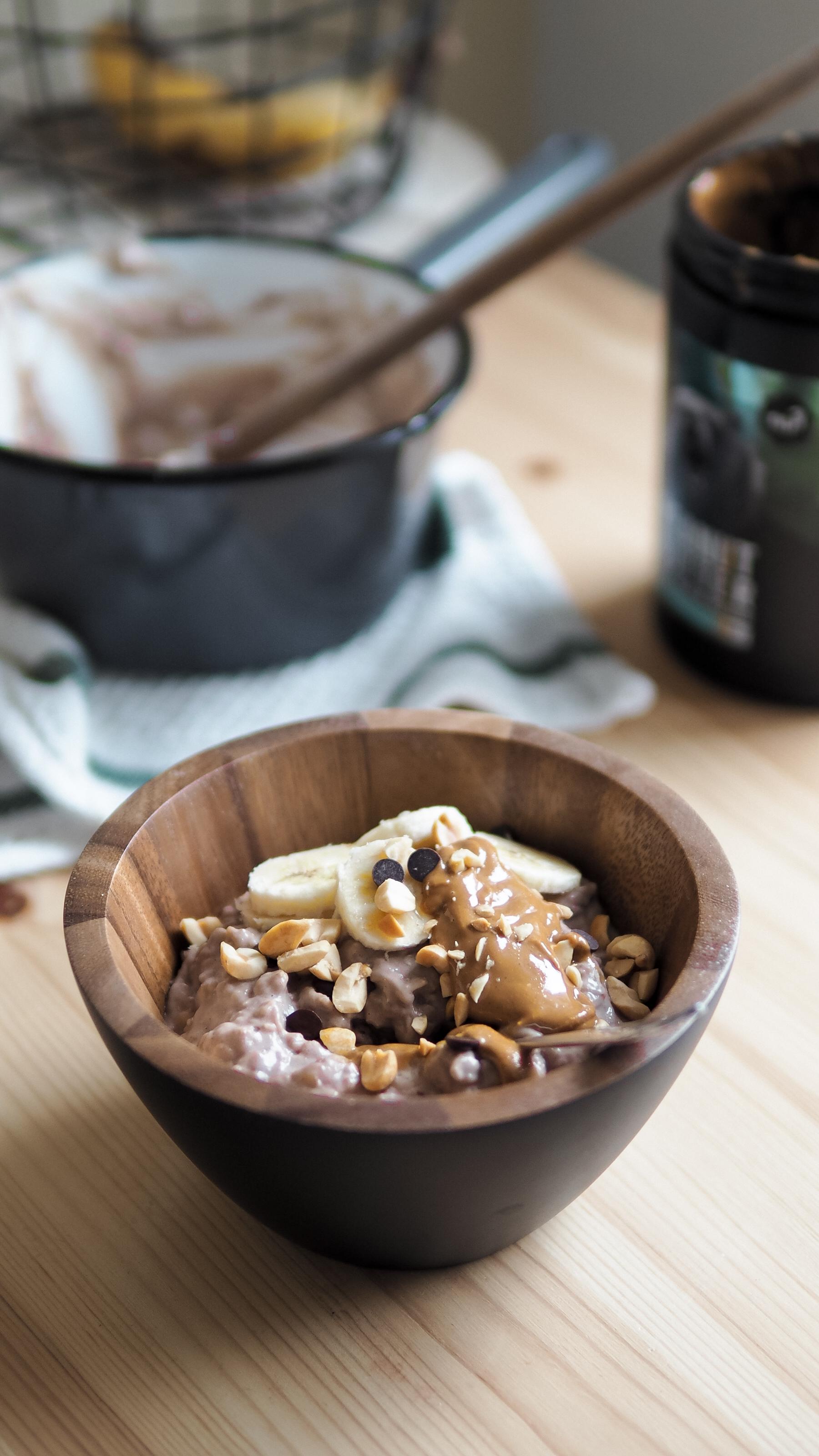 vegan snickers oatmeal