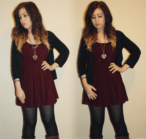 a girl with ombre hair wearing a burgundy ruched dress with a gold heart pendant and a black cardigan