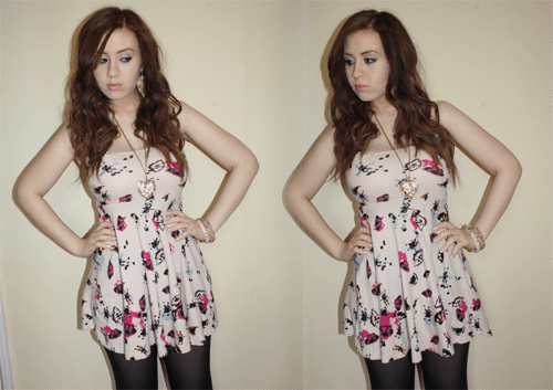 blogger francesca sophia wearing a light pink skater dress with a butterfly pattern in darker pinks