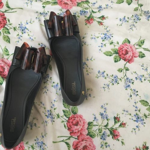 ultragirl twin bow pumps by Melissa on a floral duvet on francescasophia.co.uk