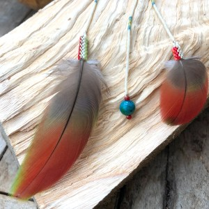 Red Macaw Feather Pendant