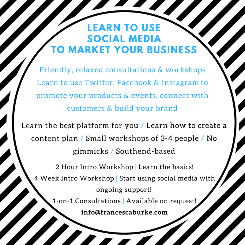 Advert for social Media Marketing workshops and classes Southend-on-Sea, Essex
