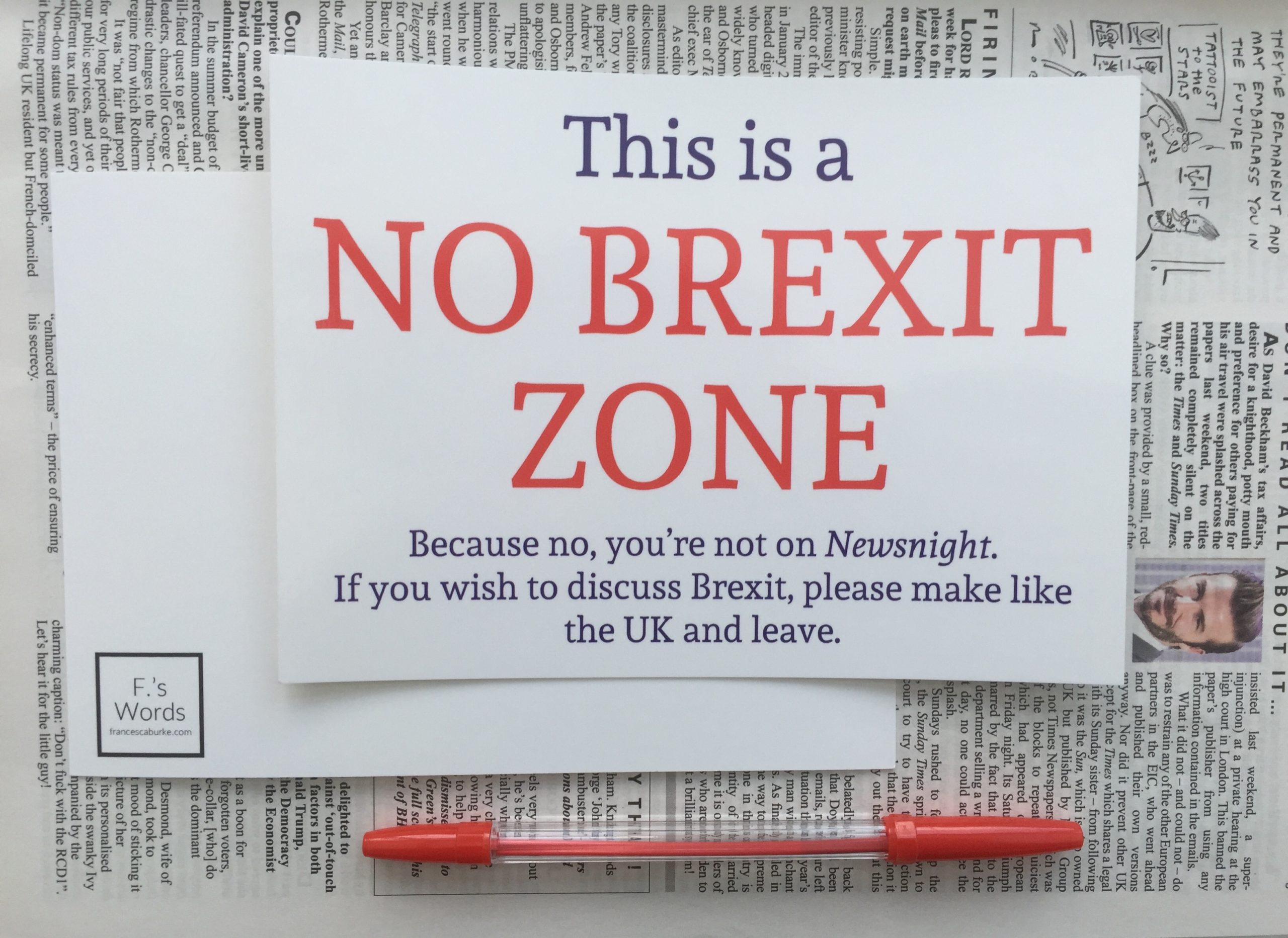 Print reading 'This is a No Brexit Zone'