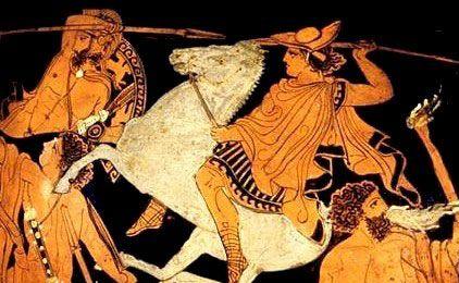 Dettaglio di uno dei gemelli Dioscuri che combatte contro un Gigante da un dipinto della Gigantomachia (Guerra dei Giganti). Il semidio è raffigurato come un cavaliere che indossa un berretto petasos e brandisce una lancia.