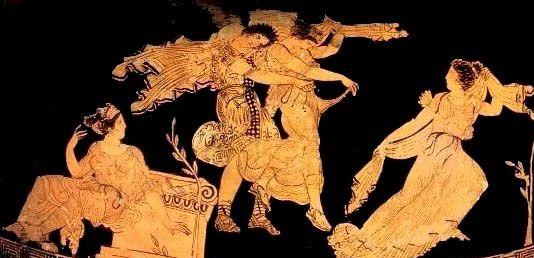 Dioscuri e Leucippide, anfora ateniese a figure rosse C5 a.C., British Museum