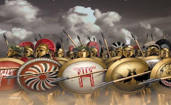 Contrariamente a quanto si crede gli Spartani alle termopili, non avevano gli scudi con la lettera Lambda, come si vede nei film. Ognuno si decorava lo scudo a modo suo.