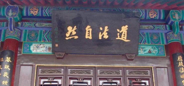 """Immagine: """"Il Dao ha come modello ciò che così-è, da sé"""" (dal Daodejing, traduzione di Attilio Andreini). Calligrafia di Zhao Puchu esposta nel tempio daoista Baxiangong, Xi'an, foto Arianna Rinaldo."""