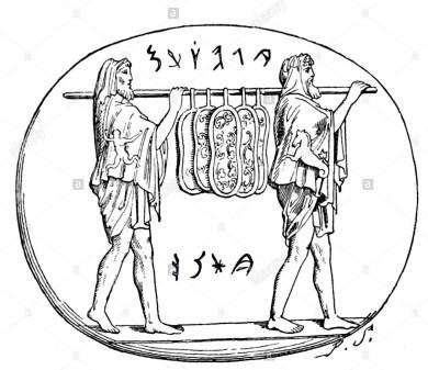 qui-rappresentati-sono-i-sali-antichi-sacerdoti-romani-di-marte-portando-l-ancilla-sacro-scudi-il-1-marzo-bh0a2t