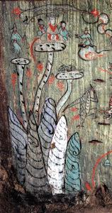 """爱讯头条/ 故事 西王母的天堂里有什么?不死仙药、羽人和三足乌 画里梦外 2019-12-09 西王母的天堂里有什么?不死仙药、羽人和三足乌 皇命传下,一座西王母祠在奢延县建立起来。祠如石室,内奉西王母像,四壁皆画神兽瑞草之属,以现昆仑胜境。祠祭之日,县令为首,三老耆旧,皆礼敬参拜如仪,赵千秋便是其一。 有时候,赵千秋会遇见一些匈奴人或西域人。赵千秋惊讶地发现,在他们心灵的万神庙中也有西王母的尊贵位置,那或许是斯基泰西王母、条支西王母等大女神的精神余响。在与他们的交谈中,赵千秋了解到关于迢迢西方王母之境的更多细节,这些都最终幻化在他的梦里。 江山变了颜色,那位再世的西王母——太皇太后王政君的侄子取代了汉朝皇帝,坐上了皇位。赵千秋明白,祠堂里的西王母像,便是按这位新室文母的形象绘制的,但这不打紧,因为他心目中的西王母,就是这样慈眉善目的老太太。朝堂上的心计于他何干呢?他只愿,能在西王母的天堂梦里多徜徉一会。 近来北风紧,赵千秋感到自己的身体愈发沉重了。他意识到,在此生的时间或许不多了。子孙早已在他的授意下,于祖茔之地为他卜占吉宅。而赵千秋心里放不下的,还有一桩事。 这一天,门房报告,从长安来的画师已在门外了。赵千秋扶杖而出迎迓。在客主寒喧后,赵千秋请画师将他的梦境画出来。 画师详细听着赵千秋的描述,不时地询问一些细节,最后,画师表示,他可以一试。 一个月后,画师大功告成。当赵千秋在儿子的搀扶下,颤颤巍巍地摸索入他的永生之穴时,烛光照出了西壁上的那幅画。赵千秋浑浊的眸子立刻晶亮了。他确信,这便是他梦中所见,温热的泉竟然盈满了眼眶。 两千年后,当这幅壁画以风霜之姿再现于世时,那被尘封久远的梦境似乎再度鲜活。 梦被画在墓室西壁的红色栏框内,栏框长2.68米,高1.03米,面积2.76平方米。于此,赵千秋曾经神游的西王母天堂赫然在目了。 西王母的天堂,陕西定边郝滩乡新莽至东汉墓壁画 西王母的天堂,在昆仑山上。壁画之左下方五峰耸立者,就是昆仑之山。据传,昆仑山上可通天,登之则成仙成灵,《淮南子》曰:""""昆仑山,或上倍之,是为凉风之山,登之而不死。或上倍之,是为悬圃,登之乃灵,能使风雨。或上倍之,乃维上天,登之乃神,是谓太帝之居。""""而昆仑作为西方名山,对其的崇拜,在战国至西汉初年便已兴起了,长沙马王堆1号墓朱漆彩绘棺上绘有三山,中峰高耸,左右略低,即是昆仑形象。"""