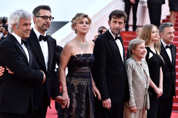 """CANNES, FRANCE – MAY 16:  (L-R) Producer Domenico Procacci, actor John Turturro, actress Margherita Buy, director Nanni Moretti, actress Giulia Lazzarini, actress Beatrice Mancini and Paolo Del Brocco attend the Premiere of """"Mia Madre"""" (""""My Mother"""") during the 68th annual Cannes Film Festival on May 16, 2015 in Cannes, France.  (Photo by Pascal Le Segretain/Getty Images)"""