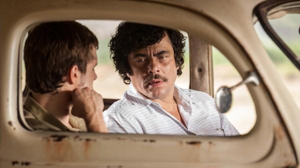 Josh Hutcherson and Benecio Del Toro in <em>Escobar: Paradise Lost</em>.