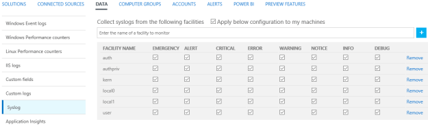 Figure 4 - Syslog facilities settings