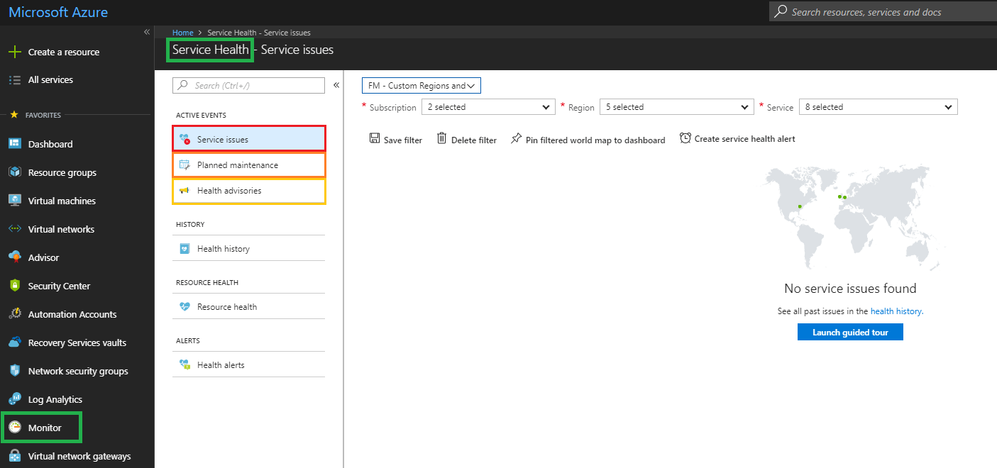 Azure Monitor: how to check the health of Azure Services