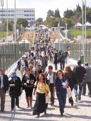 Al Manar University; people at WSF walking to and from Zone D; 28 March 2013; photo by Frances Hasso