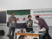 Razan Ghazzawi in center; Syrian activists and blogger; 28 March 2013; WSF; photo by Frances Hasso