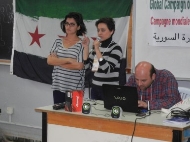 Syrian activists call for solidarity with local councils in Syrian revolution; 28 March 2013; photo by Frances Hasso