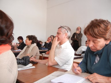 Feminists discuss Tunisian developments at a morning panel; 27 March; Manar Univ.; photo of audience by Frances Hasso
