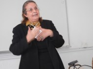 Tunisian feminist speaks of new restrictions against women and girls; 27 March; photo by Frances Hasso