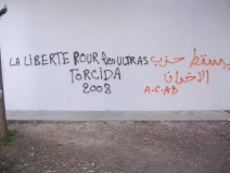 """Freedom for the Ultras - Torcida 2008""; this is a Tunisian Ultras soccer fan club; politicized and established in 2008; 29 March 2013, WSF Tunis; photograph by Frances Hasso"