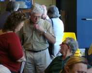 Frances chats with two eminent professors from ECU, Andrew Taylor and Glen Phillips during a break at Poets Corner@Pages Cafe.