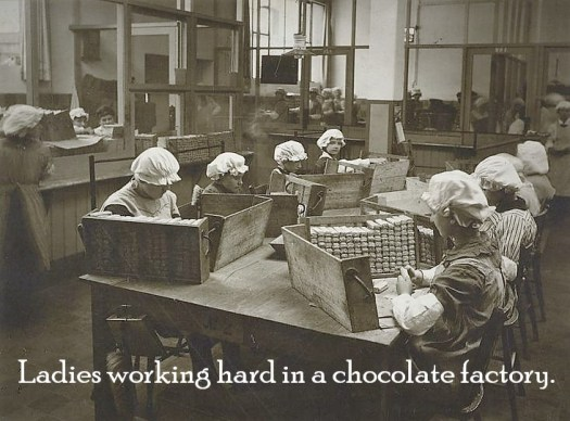 Ladies working hard in a chocolate factory. Vintage photo.