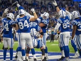 Colts celebrate after TD