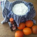 Sinaasappelsiroop en hangop van kwark