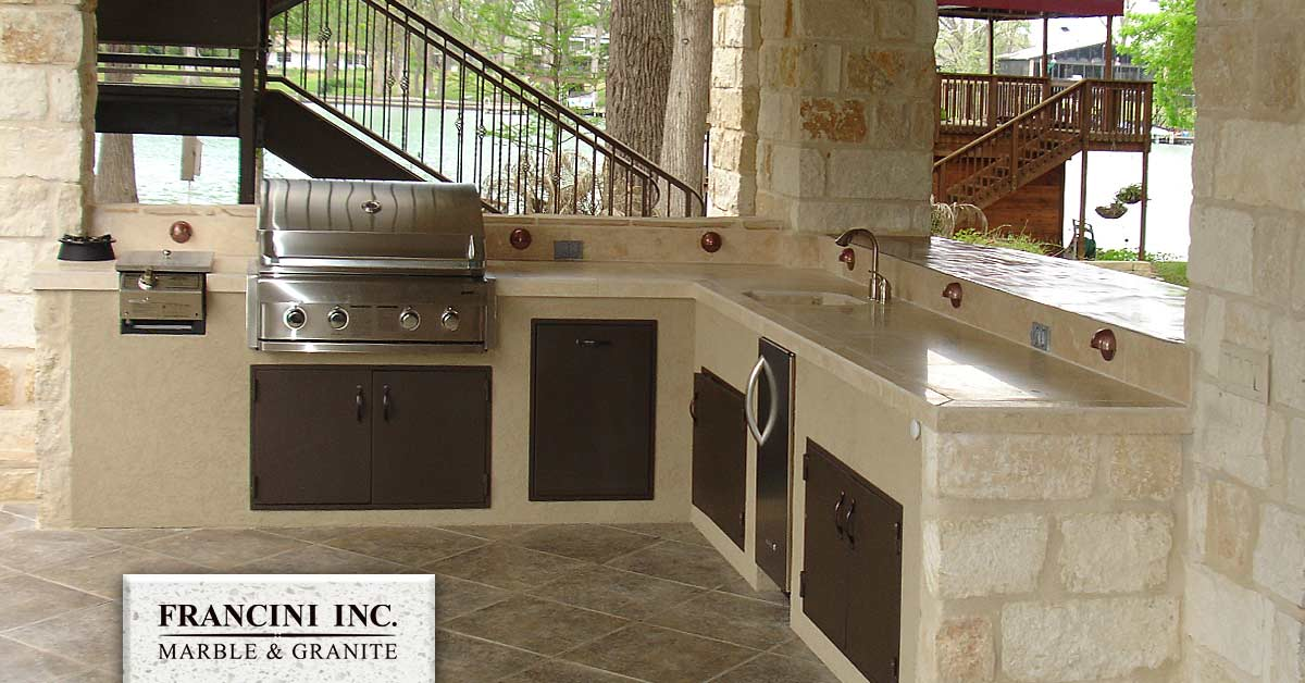 outdoor kitchen bar cabinets countertops ideas the elements of design by francini granite
