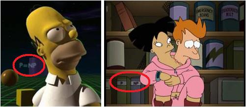 References to P=NP in The Simpsons and Futurama