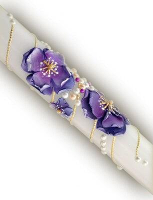 lumanare-nunta-cu-flori-modelate-manual-din-ceara-mov-detaliu