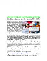 JPSC JANUARY 2017 U.S. Bishops Support Anti-Deportation BRIDGE Act