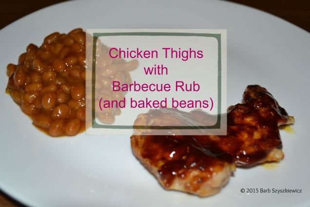Chicken Thighs BBQ rub baked beans c title