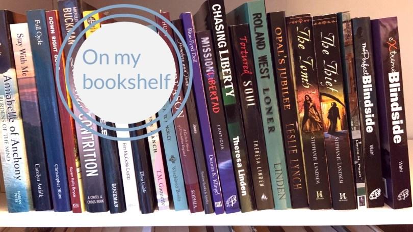 bookshelf with Catholic fiction titles