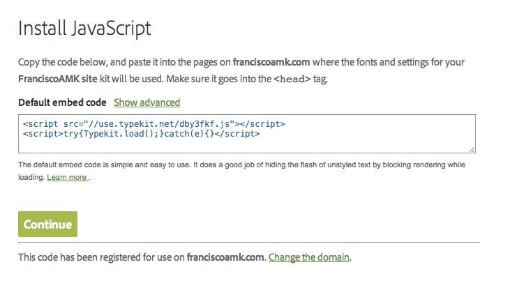 Código de Implementación Typekit