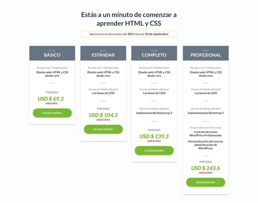 Diseño tabla de precios