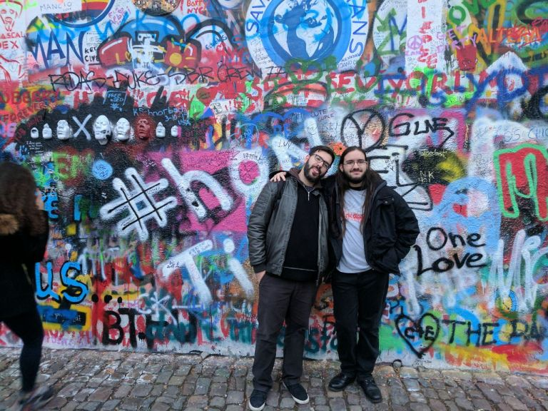 The picture was taken with my brother at the Lennon Wall of Prague