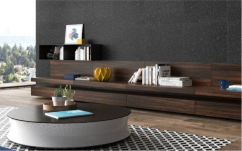 Diseño con mobiliario geométrico