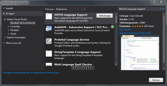 install 2015 antlr language support