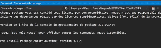 install antlrv4 runtime