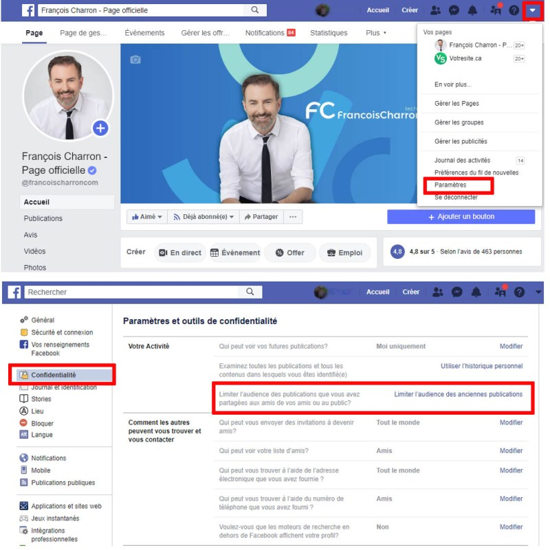Facebook ordinateur comment limiter audience anciennes publications