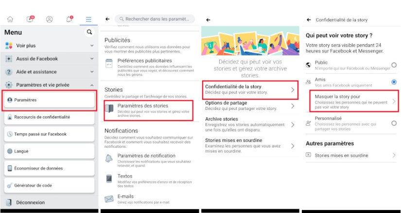 How to hide Facebook story from friends from mobile phone tablet app