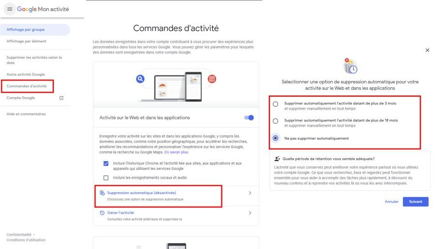Comment activier suppresion automatique activités Google ordinateur
