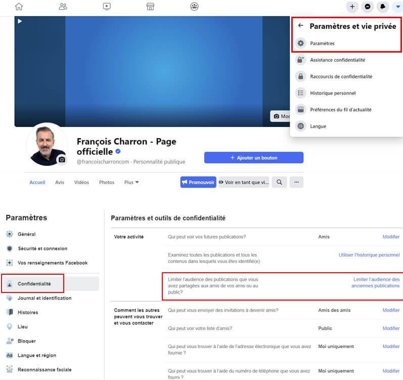 Facebook ordinateur comment limiter audience anciennes publications