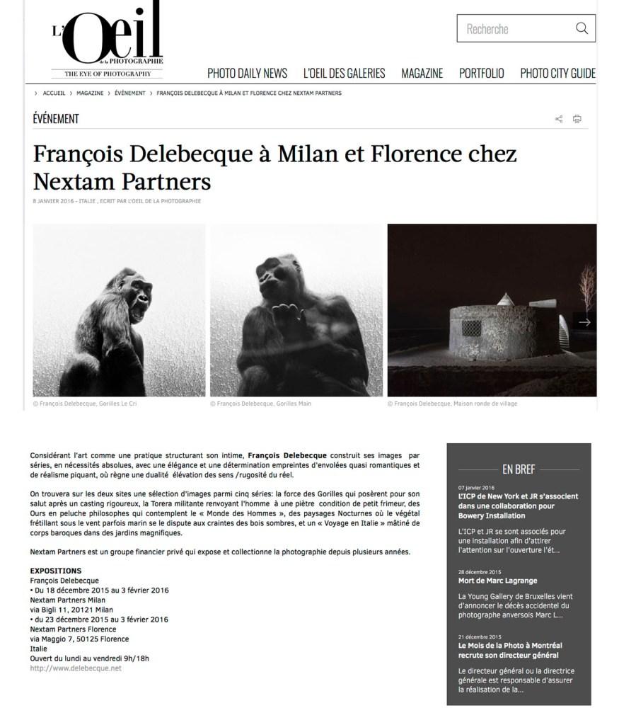 François Delebecque, L'Oeil de la Photographie, Nextam Partners