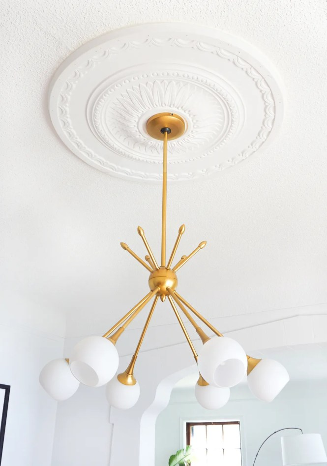 And I Have To Say Love The Way Traditional Ceiling Medallion Pairs With A More Modern Fixture Perfection If You Ask Me