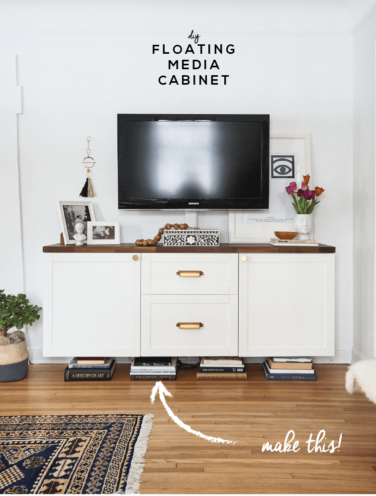 Diy Floating Media Cabinet Before, How To Make A Floating Cabinet