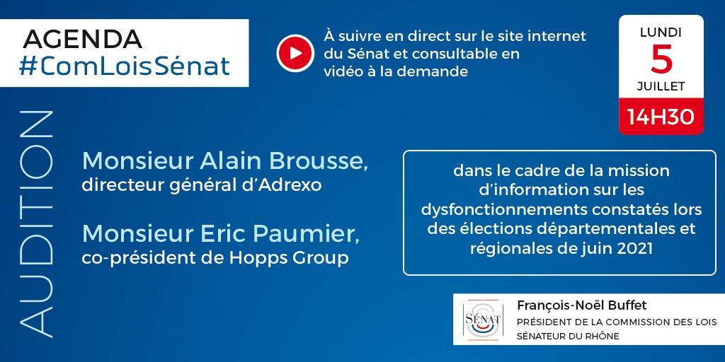 05/07/2021 : Audition de M. Alain Brousse, directeur général d'ADREXO et de M. Éric Paumier, co-président de Hopps Group.