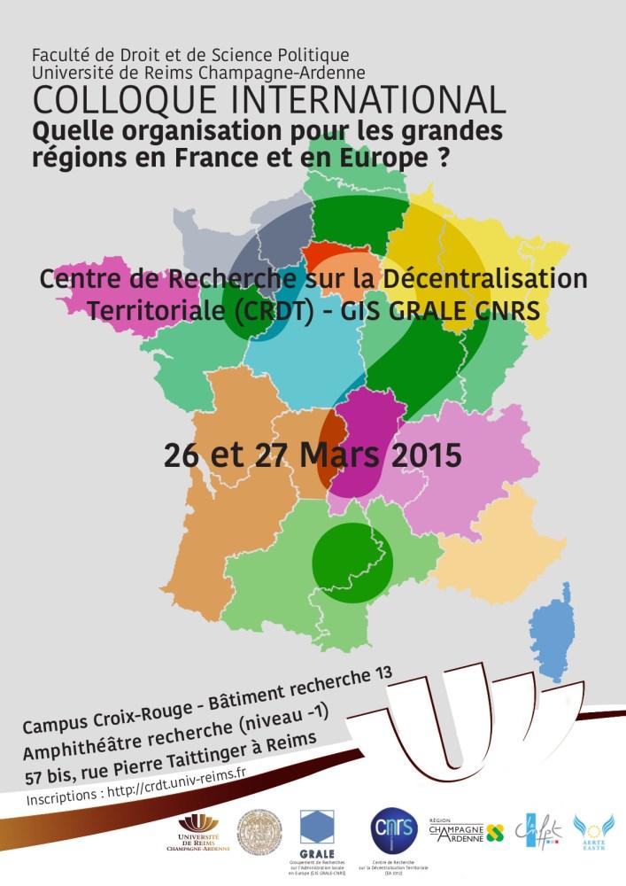 [Droit public - NOTRe] Colloque : Quelle organisation pour les grandes régions en France et en Europe ?